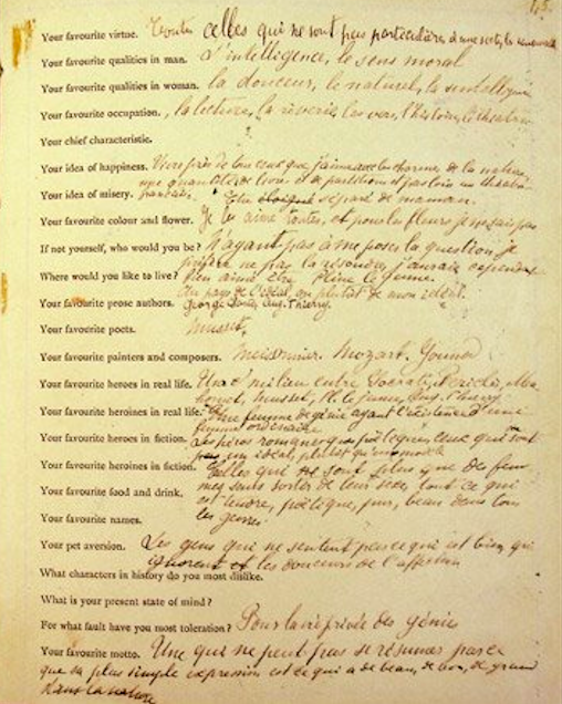 Häufig Manuscrit du questionnaire de Proust | Histoire et Civilisation OU21